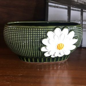 Vintage Green Ceramic Small Planter with Flowers
